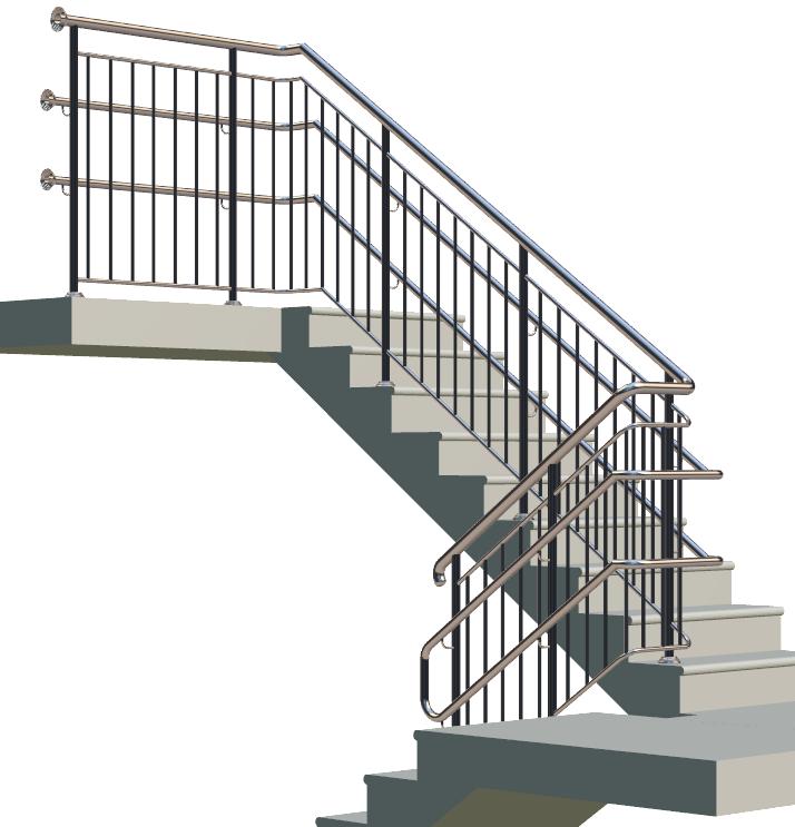 Лестничные ограждения для школ и садов с тремя поручнями